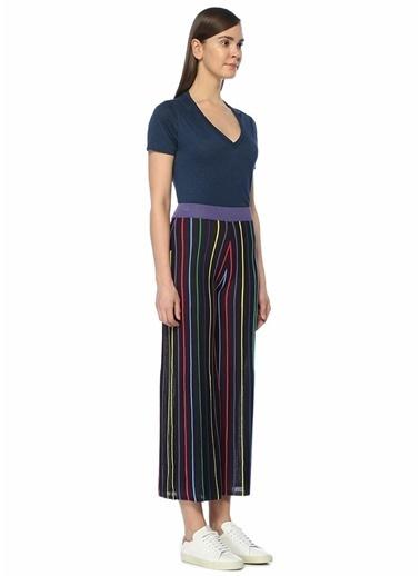 2nd One Yüksek Bel Çizgili Bol Paça Pantolon Renkli
